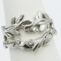 Leaves wedding rings duo