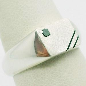 White gold signet ring with small black diamond
