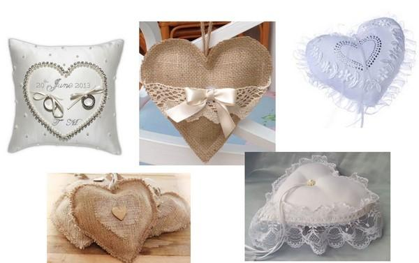 Heart-shaped ring cushions