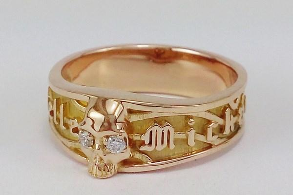 Skull gold ring for women