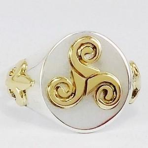 Celtic trickle silver and gold signet ring