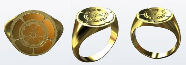rendering view of a japanese crest signet ring CAD project