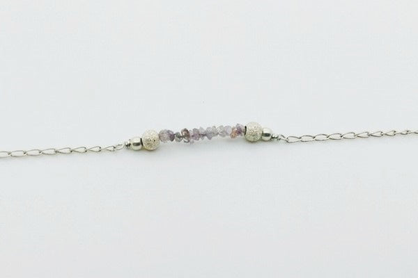 view of the diamond beads of the diy bracelet