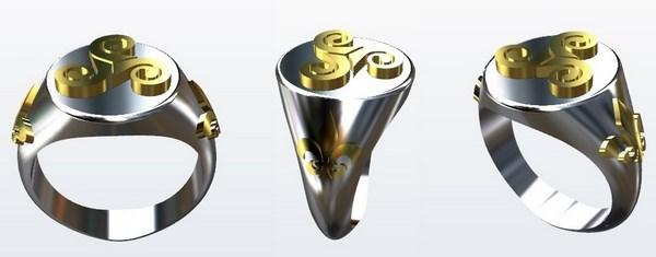 celtic ring rendering design before jewelry making in silver and gold