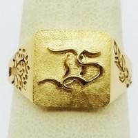 custom made 18k gold signet ring with monogam and engraved