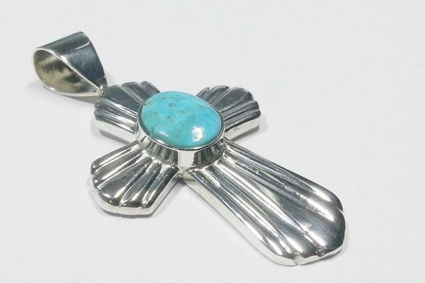 silver pendant with natural turquoise stone custom made