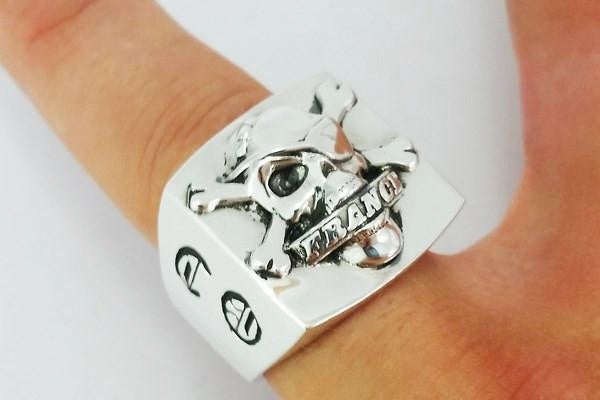 custom biker ring in silver