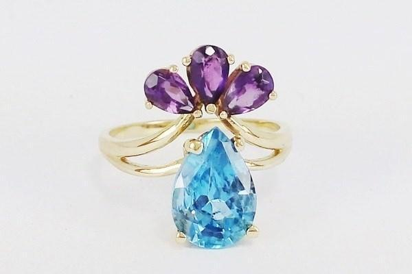 Engagement ring topaz and amethyst