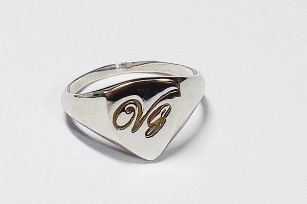 white gold initials signet ring