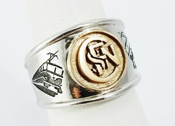 gold and silver signet ring engravable