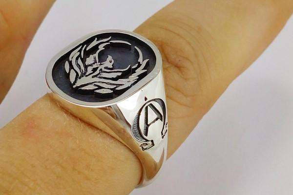 phoenix signet ring in silver