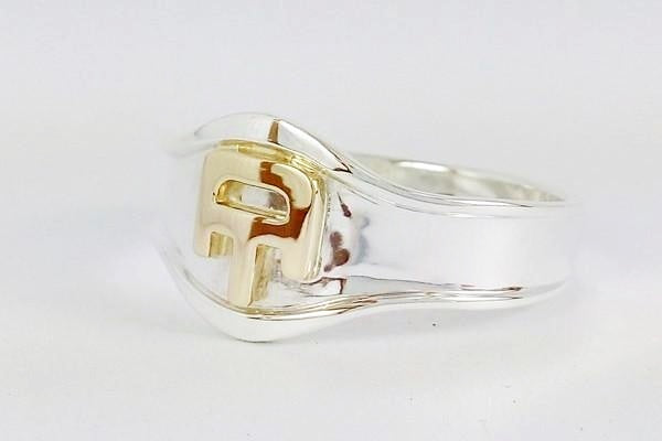 initials signet ring in silver with letters in 18k gold