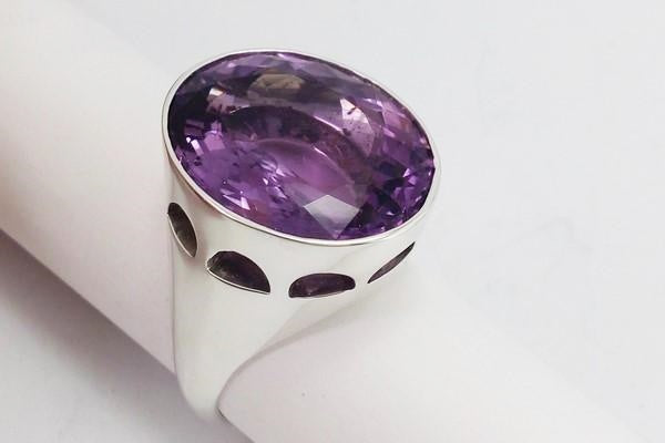 view of the amethyst stone of the episcopal ring