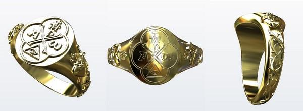 rendering of the yellow gold religious ring