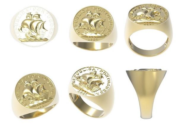 gold coin ring for men