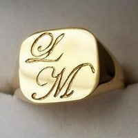 deep engraved initials on gold signet ring