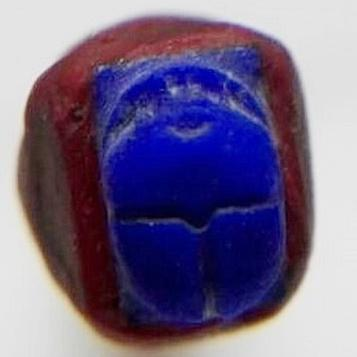 scarab carved in lapis lazuli gemstone