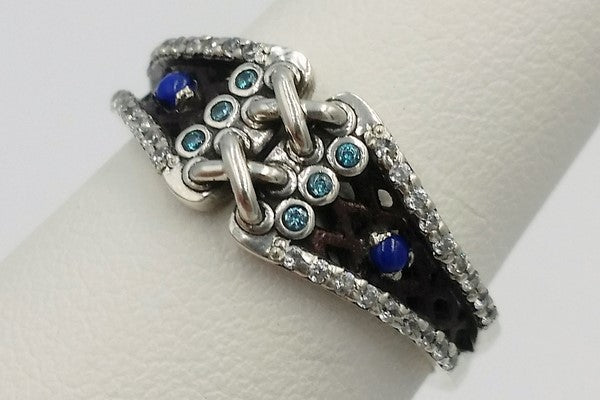 lapis lazuli engagement ring made in silver for wedding proposal