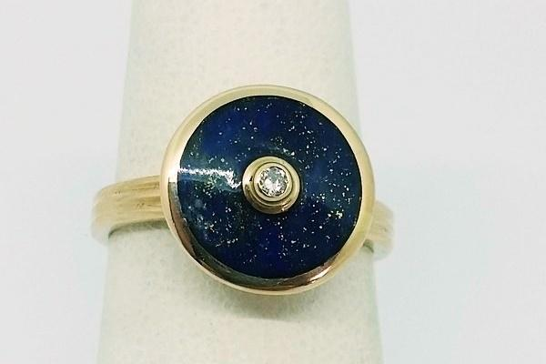 lapis lazuli gold ring with diamond for women