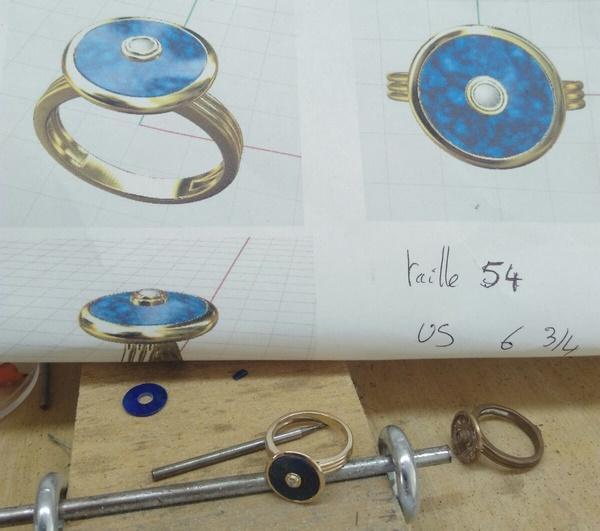 picture showing the lapis lazuli ring project and the real finished ring