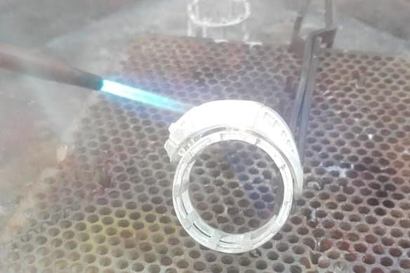soldering silver ring parts