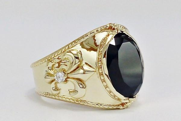 Large gold signet ring for men with big onyx stone and 2 diamonds