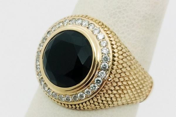 round onyx gold ring for men