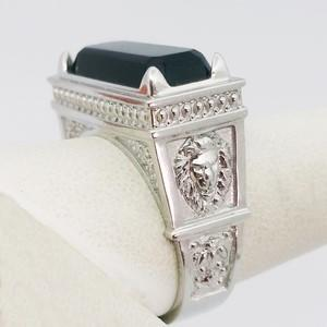 white gold mens signet ring with onyx stone
