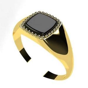 small gold ring for men with black onyx stone