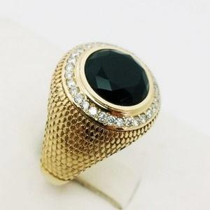 sginet ring with onyx stone and diamonds