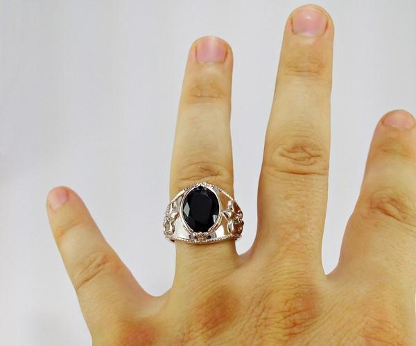 white gold mens ring with large black onyx stone