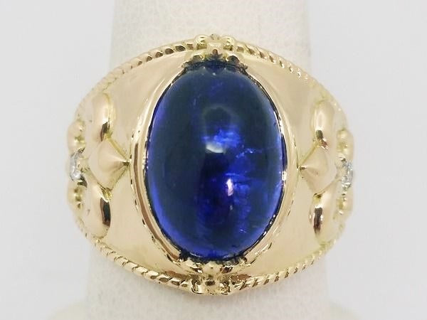 mens yellow gold tanzanite ring