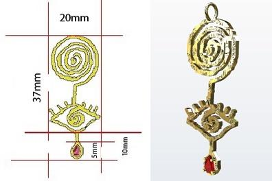 3d design of gold pendant
