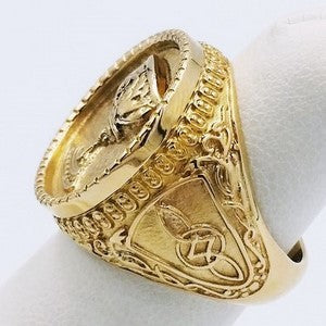 religious ring in gold