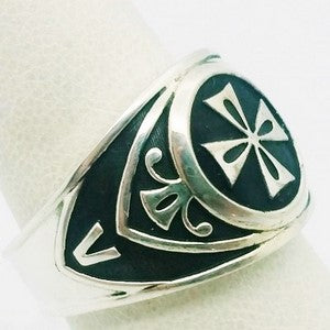 religious cross signet ring in silver