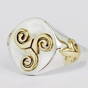 religious silver ring with symbols in 18k gold