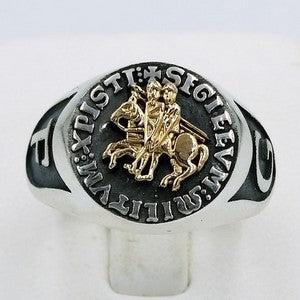 templar knight ring in gold and silver
