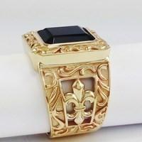 large gold onyx signet ring for men