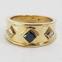 black diamond signet ring in gold