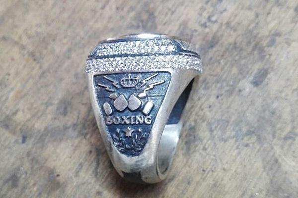 view of the championship ring with all stones crimped