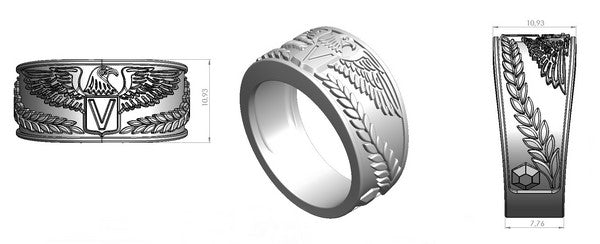 design of a silver ring with eagle emblem for men