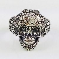 mexican skull ring in silver