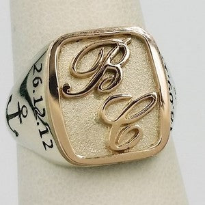 silver and 18k rose gold signet ring