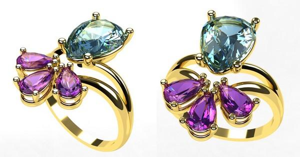 gold ring 18k with blue topaz stone and amethyst stones