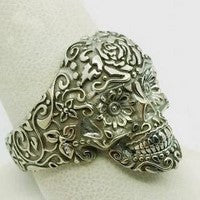 white gold mexicain skull ring