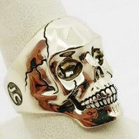white gold skull ring