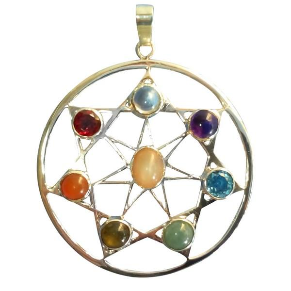 esoteric pendant in silver and stones