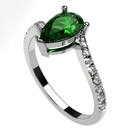 White gold 18k-Emerald