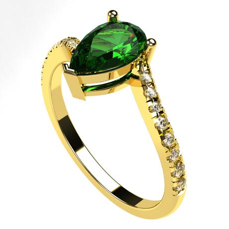 Yellow gold 18k-Emerald