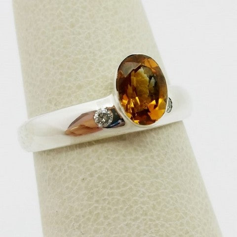Citrine and diamond ring